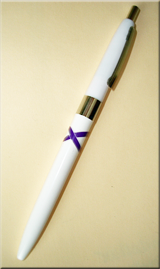 Purple Ribbon Ballpoint Pen with silver band & silver pocket clip