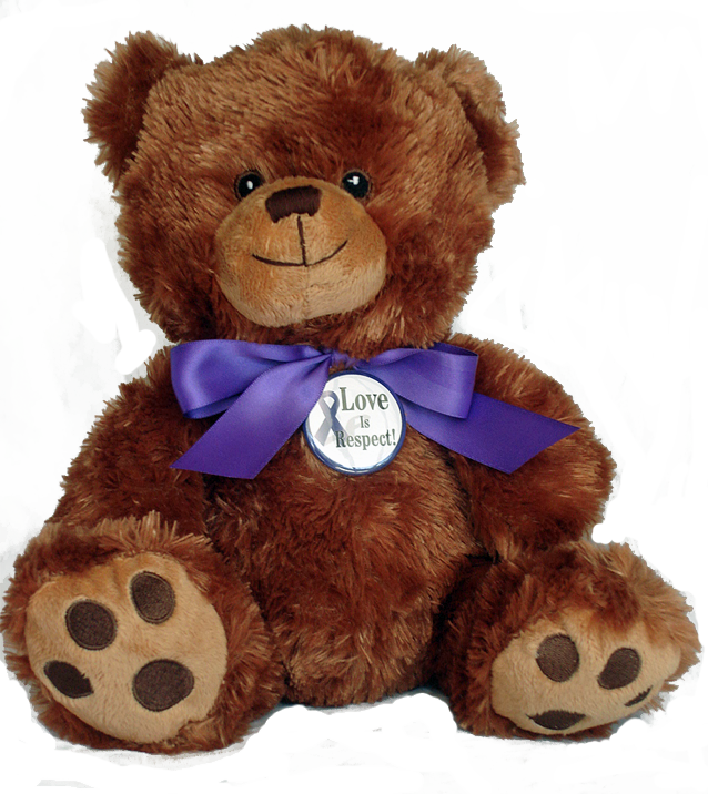 """LOVE IS RESPECT!"" - 10"" Teddy Bear w/embroidered features."