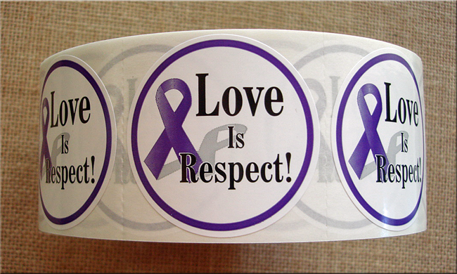 """LOVE IS RESPECT"" (with awareness ribbon)Roll of Stickers"