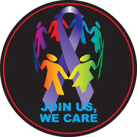 Join Us, We Care Purple Ribbon Button