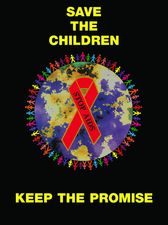 Save The Children/Red Ribbon - Poster