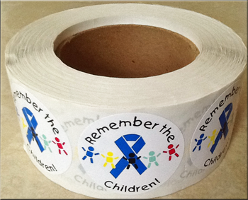 REMEMBER THE CHILDREN - Roll of 1,000 Stickers