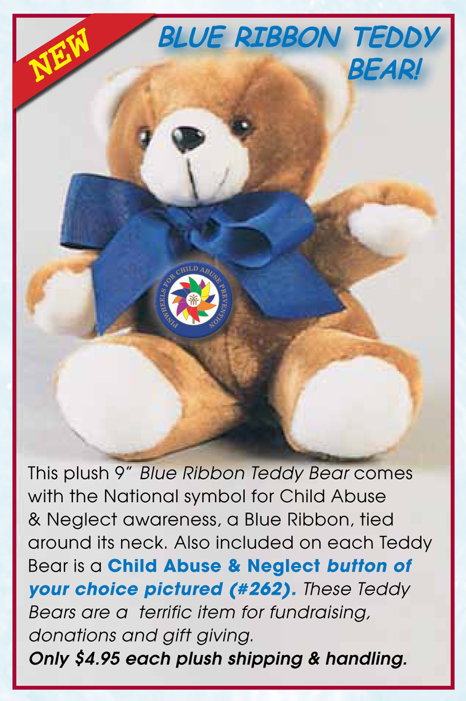 "9"" Blue Ribbon Teddy Bear with Pinwheel Button"