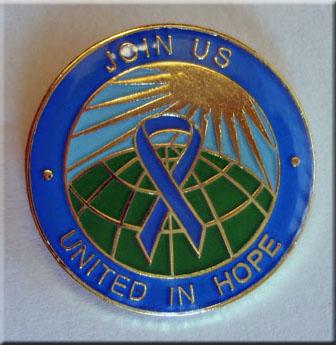 United in Hope Blue Ribbon Lapel Pin
