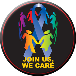 Join Us, We Care Blue Ribbon Button