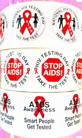 *STICKER SALE! - Three Rolls of HIV/AIDS Stickers-Rolls of 1000