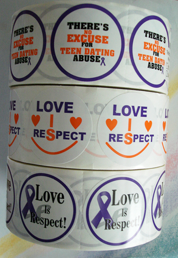 *STICKER SALE! - Three Rolls of Teen Dating Violence Stickers-Rolls of 1000