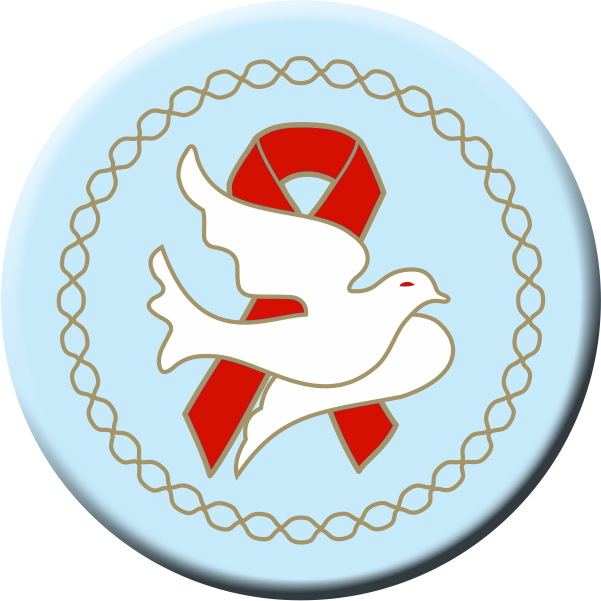 DOVE w/Red Ribbon - Button