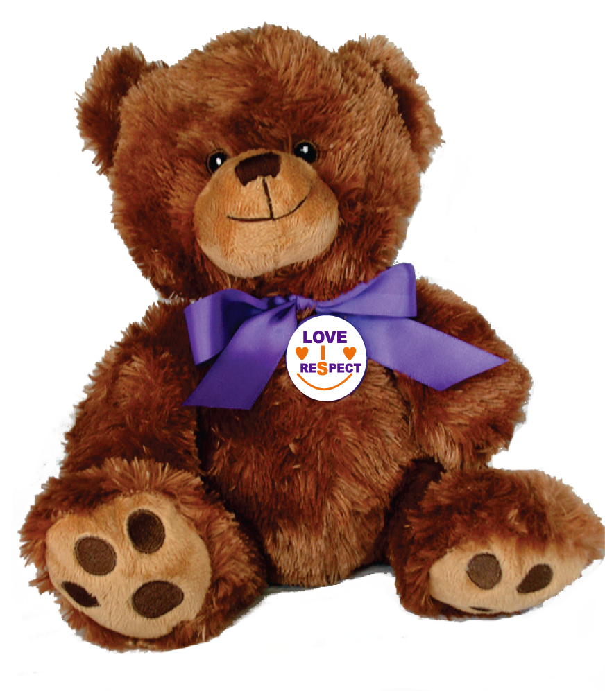 "LOVE IS RESPECT - 10"" Teddy Bear w/embroidered features"
