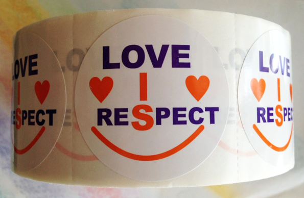"""LOVE IS RESPECT"" - Roll of Stickers"