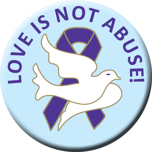 """LOVE IS NOT ABUSE!"" - 1½"" Buttons"