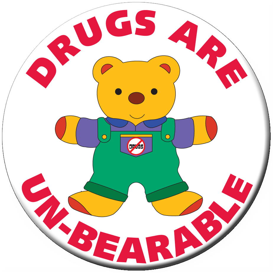 DRUGS ARE UN-BEARABLE Stickers - Roll of 1,000