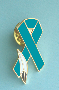 Teal Ribbon Lapel Pin w/Feather