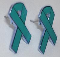 Teal Ribbon Earrings (pair)