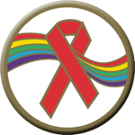 "RAINBOW RED RIBBON - 3"" Button"