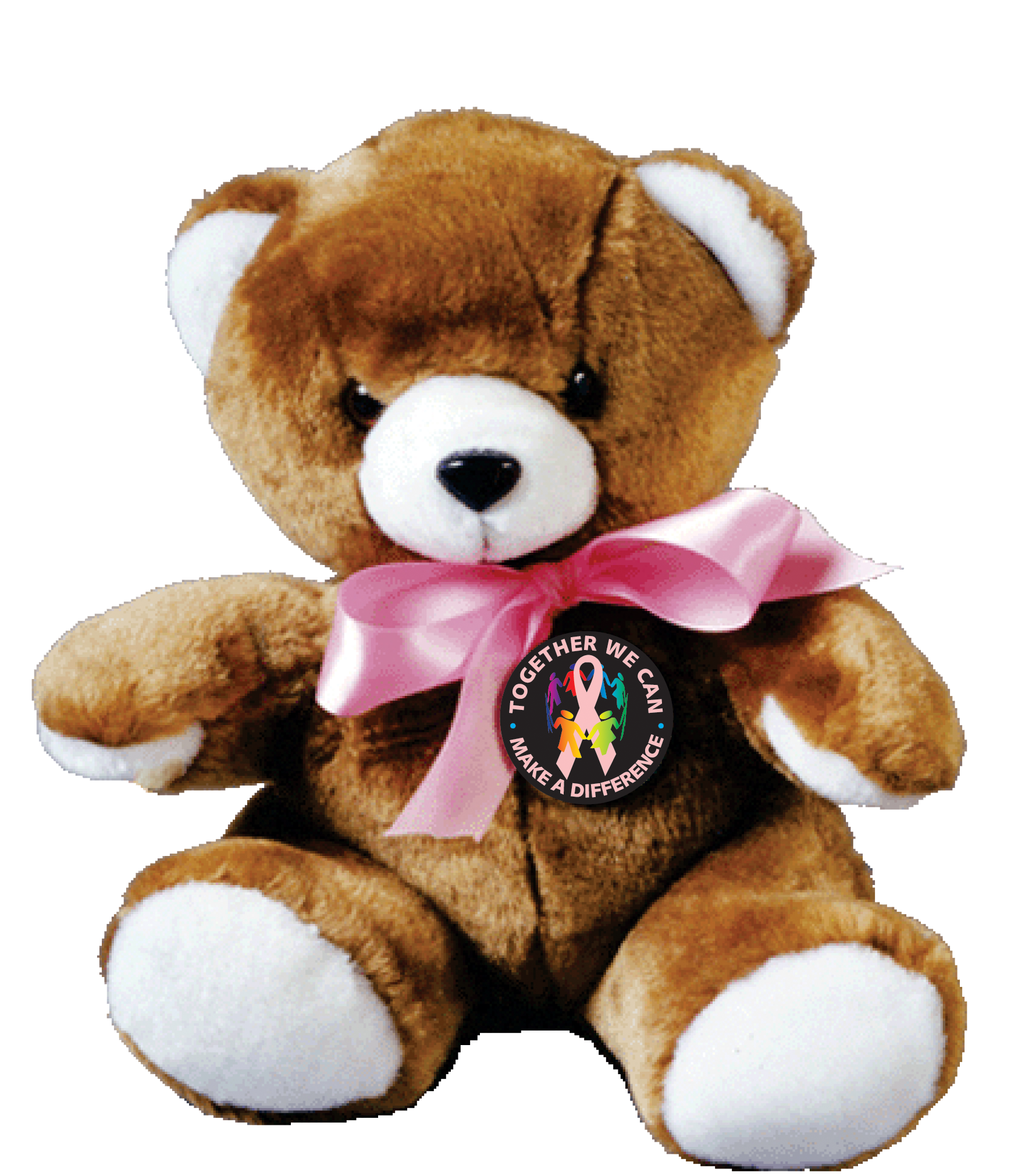 "MAKE A DIFFERENCE - 9"" Plush Pink Ribbon Teddy Bear"