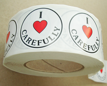 I LOVE CAREFULLY Stickers-Roll of 1000
