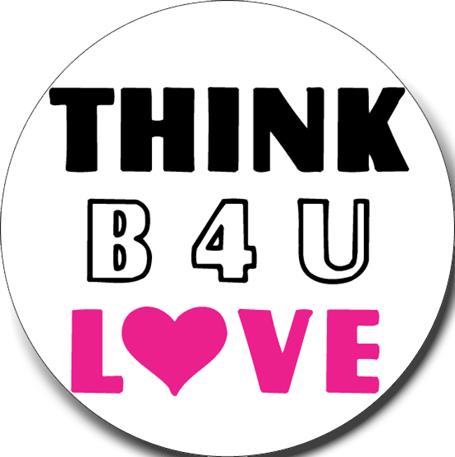 THINK BU LOVE Stickers-Roll of 1000