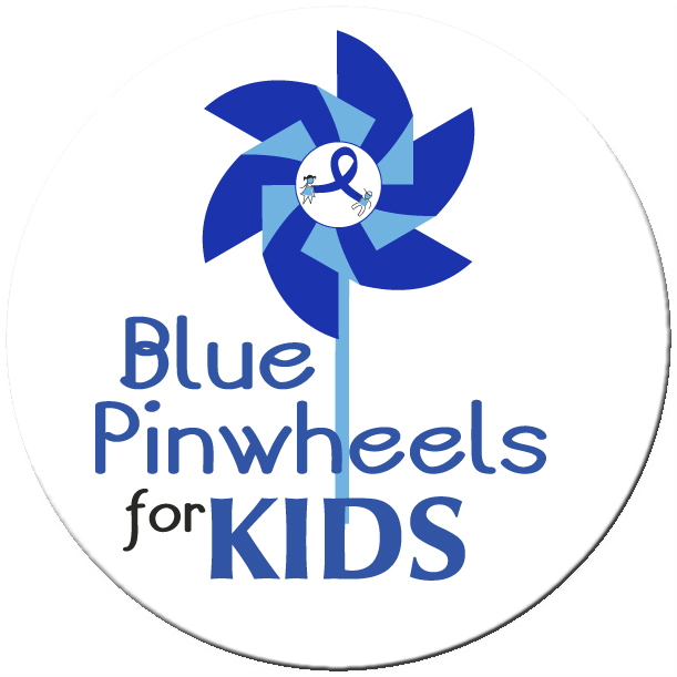 "Blue Pinwheels for Kids 2"" Stickers - Roll of 1000"
