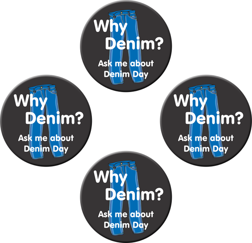 """Why Denim? Ask me about Denim Day"" - 1½"" Buttons"