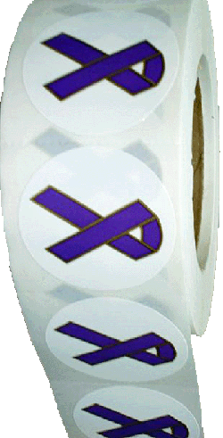 "2"" PURPLE RIBBON STICKERS-Roll of 1,000"