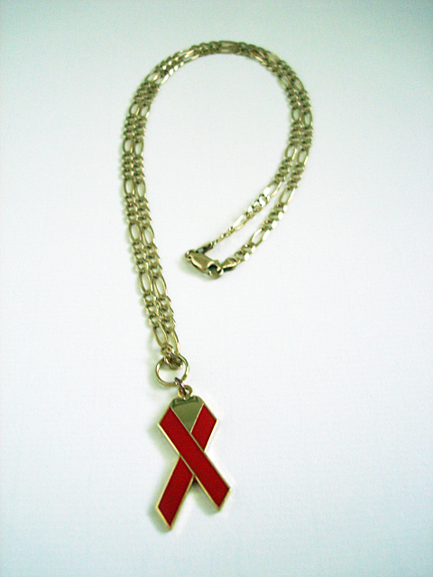 Heart Red Ribbon Necklace
