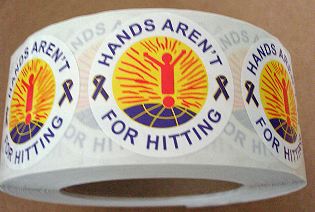 HANDS AREN'T FOR HITTING Stickers-Roll of 1000