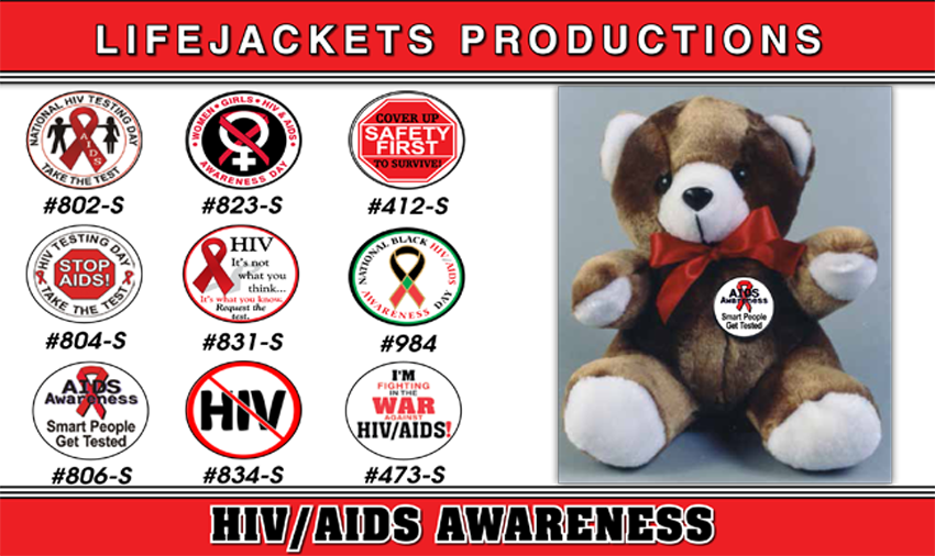 **SALE BAG OF BUTTONS - 72 Assorted HIV Testing Day Buttons. Price includes a 10% quantity discount.