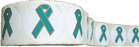 TEAL RIBBON-Stickers - Roll of 1,000