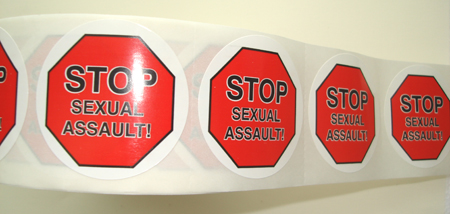 Stop(STOP)/Sexual Assault Awareness-Roll of 1000 Stickers